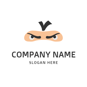 Ninja Eyebrow and Eye logo design