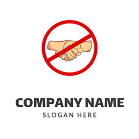 No Handshake and Social Distancing logo design