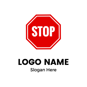 Octagon Letter Text Stop logo design