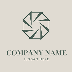 Octagon Triangle Polygon Vortex Sharp logo design