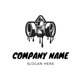 Oil Paint and Gas Mask logo design