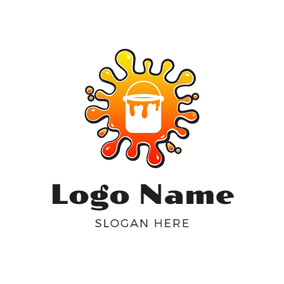 Oil Paint and Paint Bucket logo design