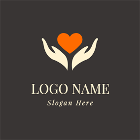 Opened Hand and Orange Heart logo design
