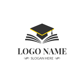 Opening Book and Embroider Mortarboard logo design