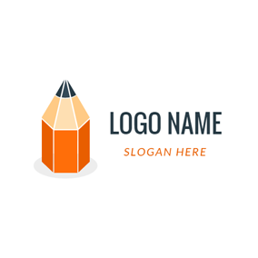 Orange and Beige Pencil logo design