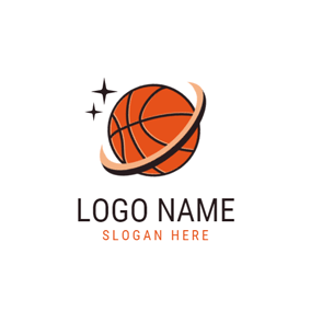 Orange and Black Basketball logo design
