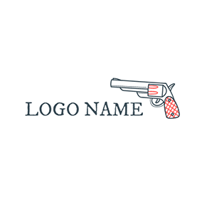 Orange and Black Gun logo design
