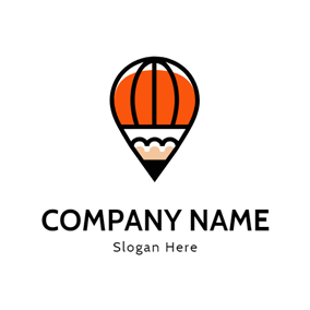 Orange and Black Pencil Icon logo design