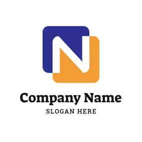 Orange and Blue Letter N logo design
