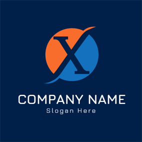 Orange and Blue Letter X logo design