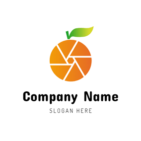 Orange and Camera Lens logo design
