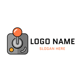 Orange and Gray Joystick logo design