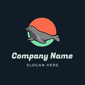 Orange and Green Round and Gray Seal logo design