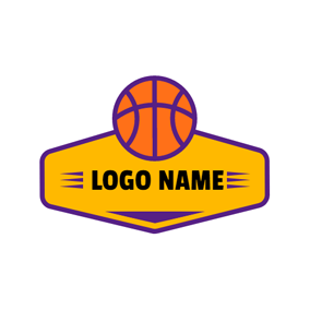 Orange and Purple Basketball logo design