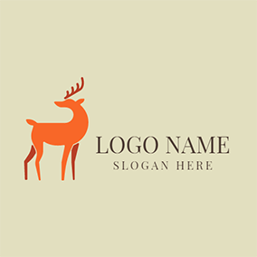 Orange and Red Deer Pattern logo design