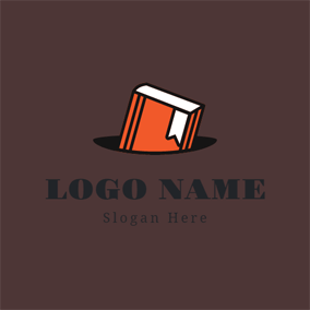 Orange and White Book logo design