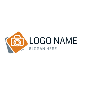 Orange and White Camera logo design