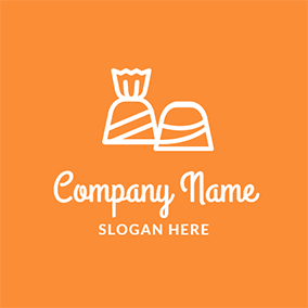 Orange and White Candy logo design