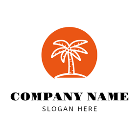 Orange and White Coconut Tree logo design