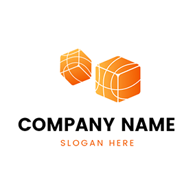 Orange and White Dice Icon logo design