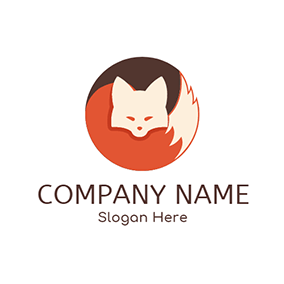Orange and White Fox Icon logo design