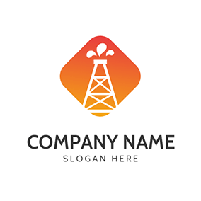 Orange and White Petroleum Icon logo design