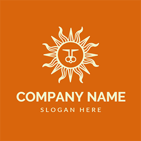 Orange and White Sun logo design
