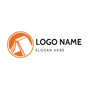 Orange and White Tent logo design