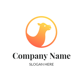 Orange and Yellow Camel Head logo design