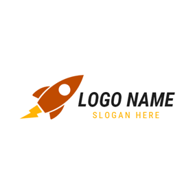 Orange and Yellow Rocket logo design