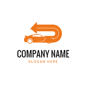 Orange Arrow and Motor Vehicle logo design