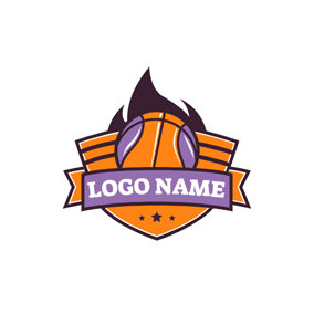 Orange Badge and Basketball logo design