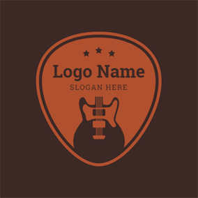 Orange Badge and Black Guitar logo design