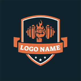 Orange Badge and Dumbbell logo design
