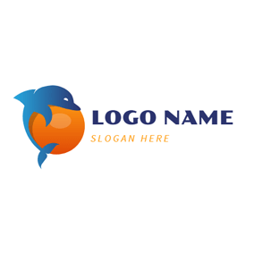Orange Ball and Blue Dolphin logo design