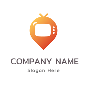 Orange Balloon and Tv logo design
