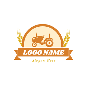 Orange Banner and Tractor logo design