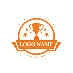 Orange Banner and Trophy logo design