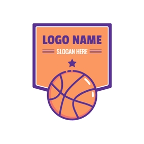 Orange Basketball Badge logo design