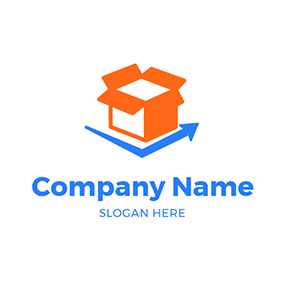 Orange Box and Blue Arrow logo design