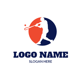 Orange Circle and Baseball Player logo design
