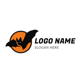 Orange Circle and Bat logo design