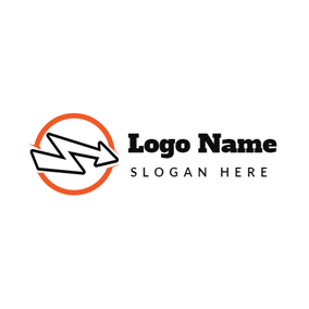 Orange Circle and Black Arrow logo design