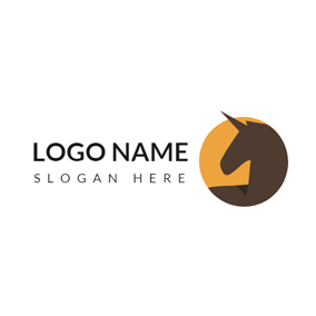 Orange Circle and Brown Horse logo design
