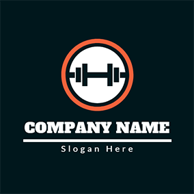 Orange Circle and Fitness Equipment logo design