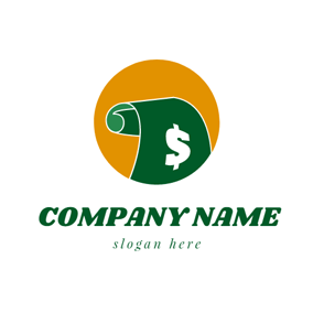 Orange Circle and Green Paper Money logo design