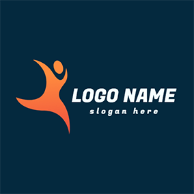 Orange Circle and Irregular Figure logo design
