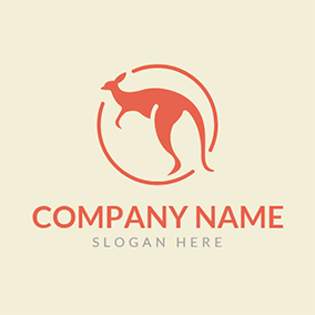 Orange Circle and Kangaroo logo design