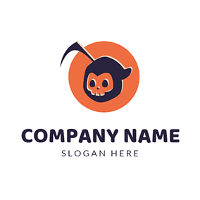 Orange Circle and Skull Icon logo design