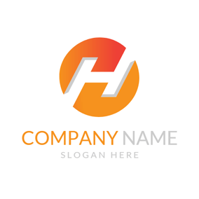Orange Circle and White Letter H logo design